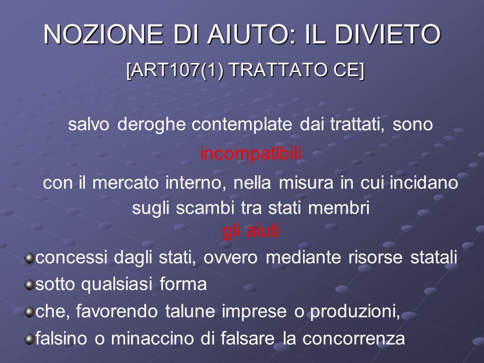 NOZIONE DI AIUTO: IL DIVIETO [ART107(1) TRATTATO CE]